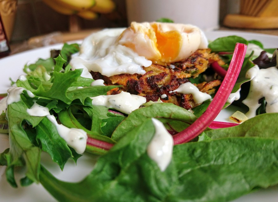 Sweet potato latkes, poached egg and tahini yogurt