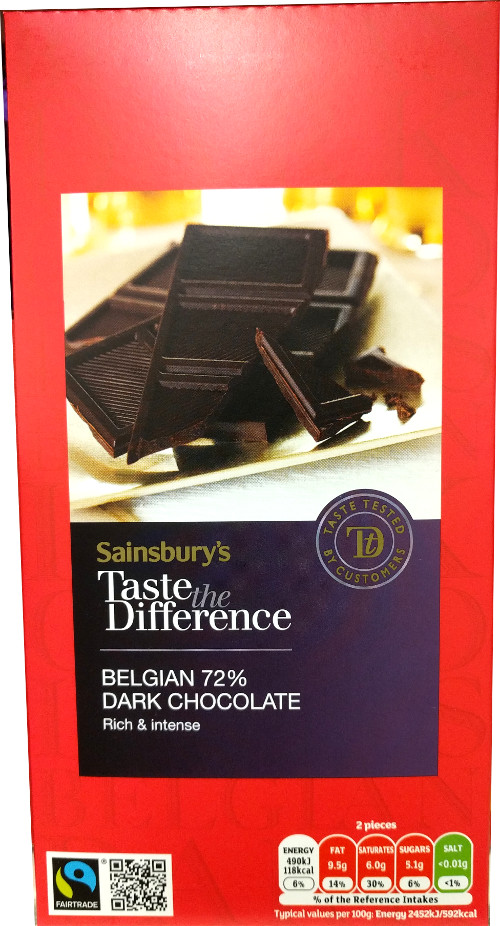 Dark Sainsburys 72 percent chocolate