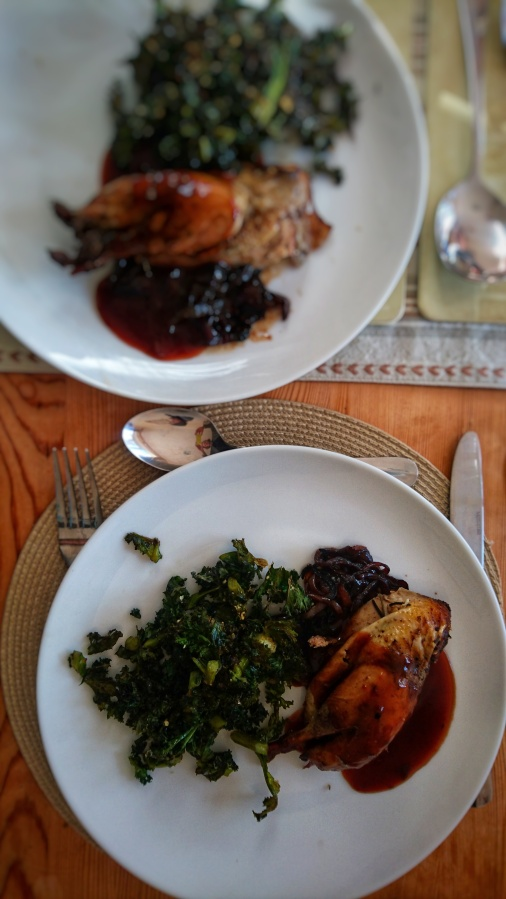 Roast partridge with red wine and stickyonions.
